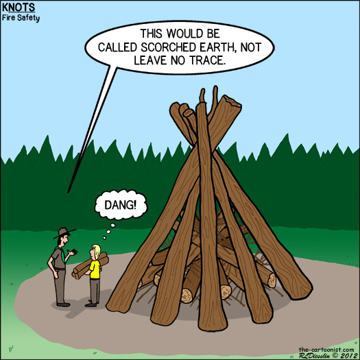 KNOTS or Not Scout Cartoon - Leave No Trace Bonfire