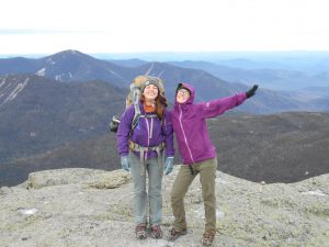 Olivia and I both rocking the Aspire on the summit of Mt. Marcy, in New York, late November 2015. Purple may be the coolest color version of the jacket, just saying.